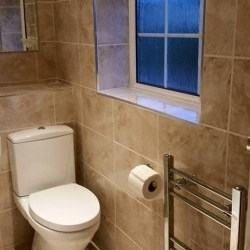 Toilet, window, heated towel rail