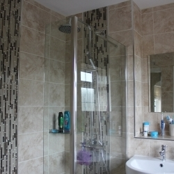Shower glass divider shelf mirror