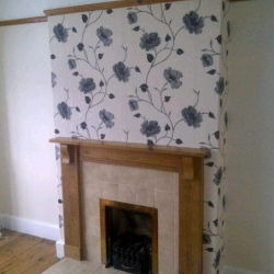 Fireplace and wallpaper